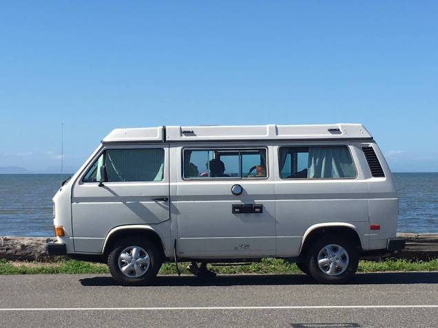 Our 87 VW Westfalia with Birch Bay behind