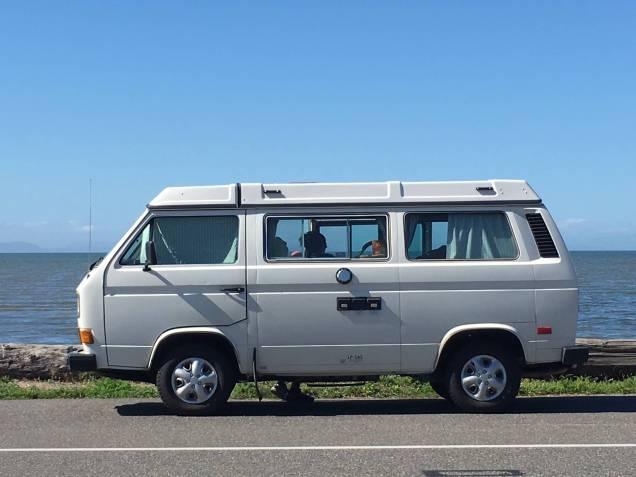 Our 87 VW Westfalia with Birch Bay behind