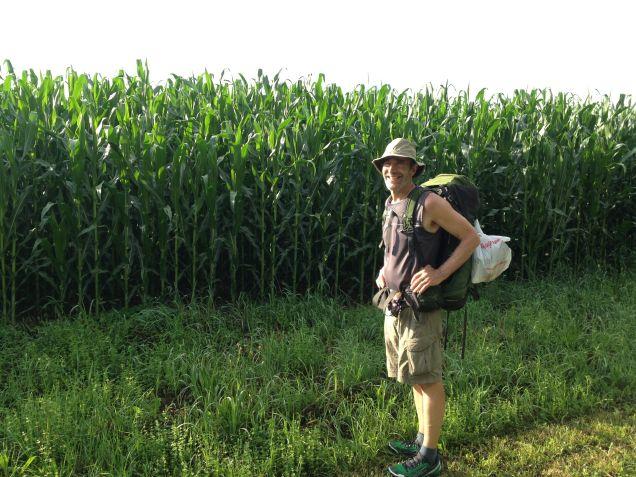 Aaron next a corn field